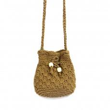 На фото 1 - Плетеная сумочка-торба из джута, цвет темный крафт