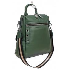На фото 1 - Молодёжная сумка-рюкзак из фактурной натуральной кожи, цвет зелёный