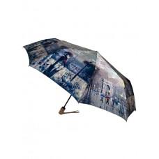 На фото 1 - Зонт женский-полуавтомат с живописным принтом, мультицвет