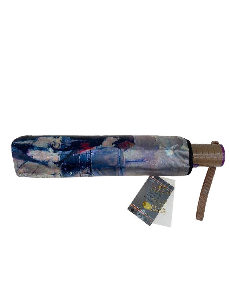 На фото 3 - Зонт женский-полуавтомат с живописным принтом, мультицвет