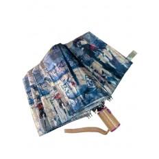 На фото 2 - Зонт женский-полуавтомат с живописным принтом, мультицвет