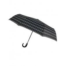 На фото 1 - Мужской зонт-автомат с клетчатым принтом, чёрный
