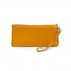 На фото 1 - Стильный кошелек-клатч женский, цвет желтый