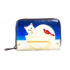 На фото 1 - Яркая визитница с принтом кот, цвет синий+белый