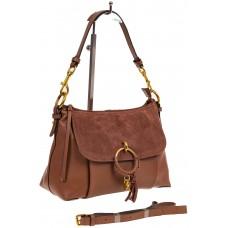 Sling bag коричневого цвета из натуральной кожи и замши для продажи оптом, фото