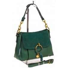 Зеленый sling bag из натуральной кожи и клапаном из натуральной замши, фото
