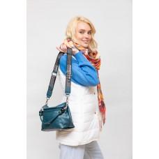 На фото 1 - Женская сумка из мягкой искусственной кожи, цвет синий
