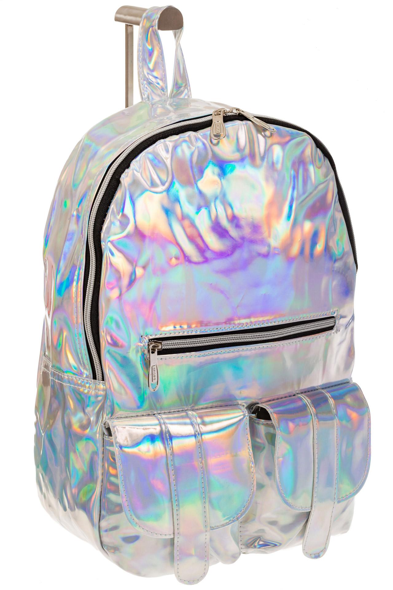 На фото 1 - Серебряный женский рюкзак из искусственной кожи
