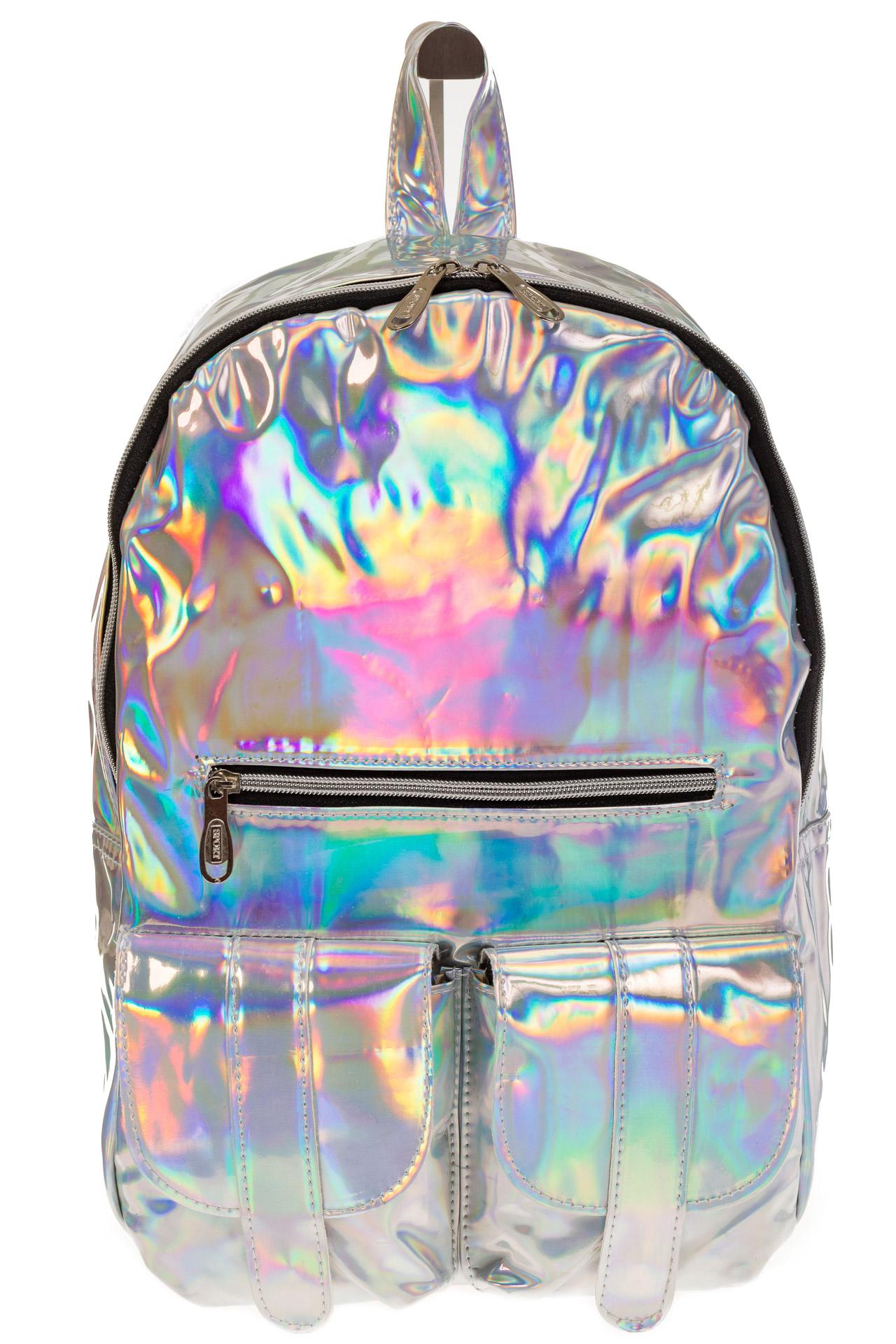 На фото 2 - Серебряный женский рюкзак из искусственной кожи