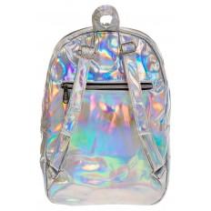 На фото 3 - Серебряный женский рюкзак из искусственной кожи