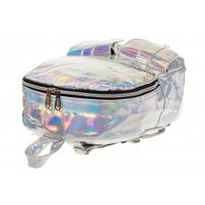 На фото 4 - Серебряный женский рюкзак из искусственной кожи