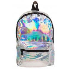 На фото 2 - Женский рюкзак из искусственной кожи серебряного цвета