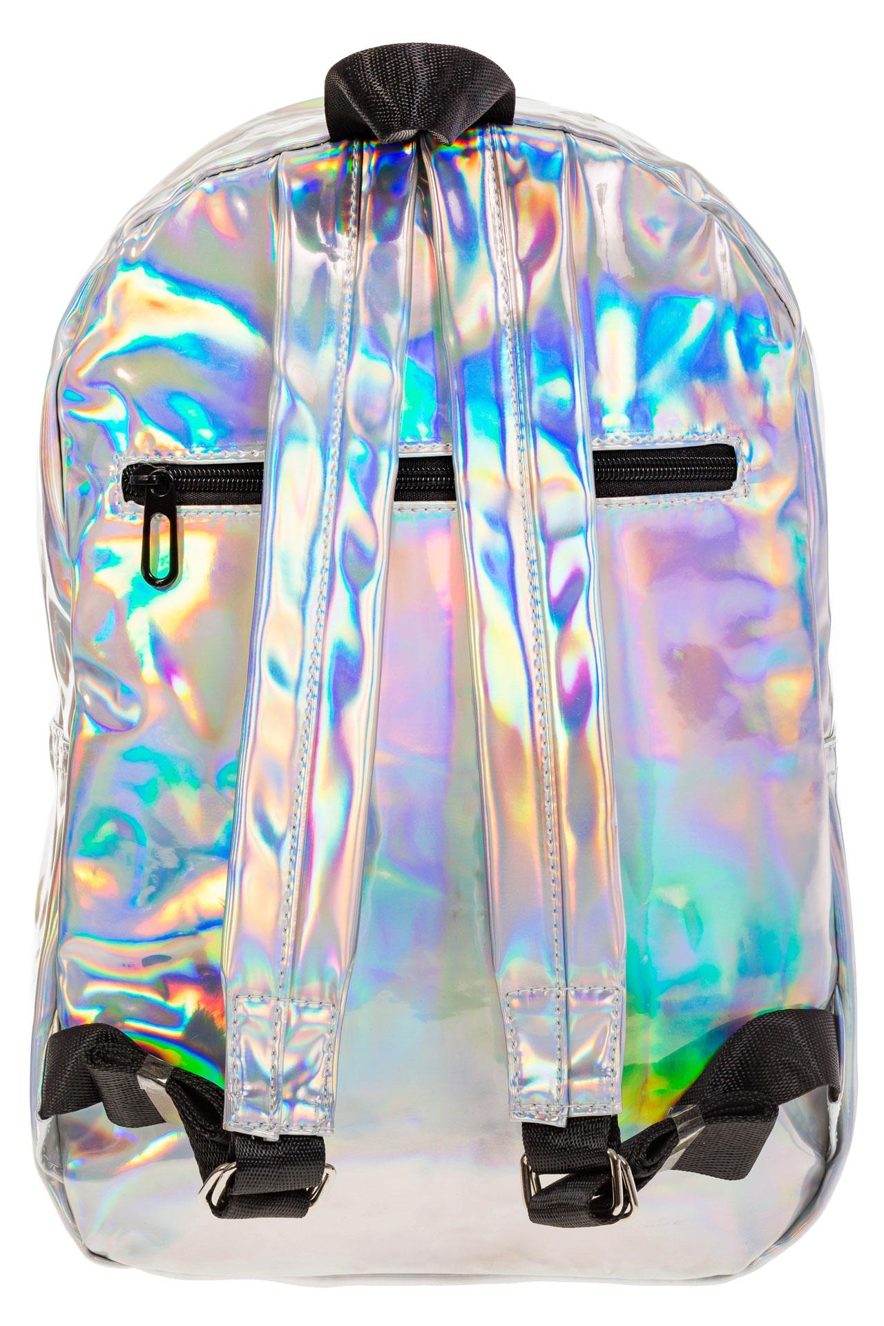 На фото 3 - Женский рюкзак из искусственной кожи серебряного цвета