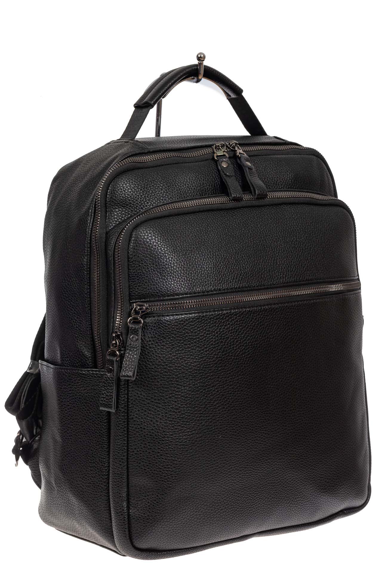 Мужской рюкзак из экокожи, цвет чёрный