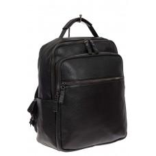 На фото 1 - Мужской рюкзак из экокожи, цвет чёрный