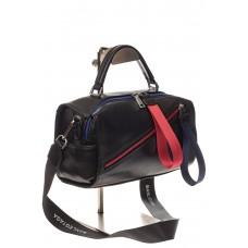 На фото 1 - Женская сумка из натуральной кожи, цвет черный