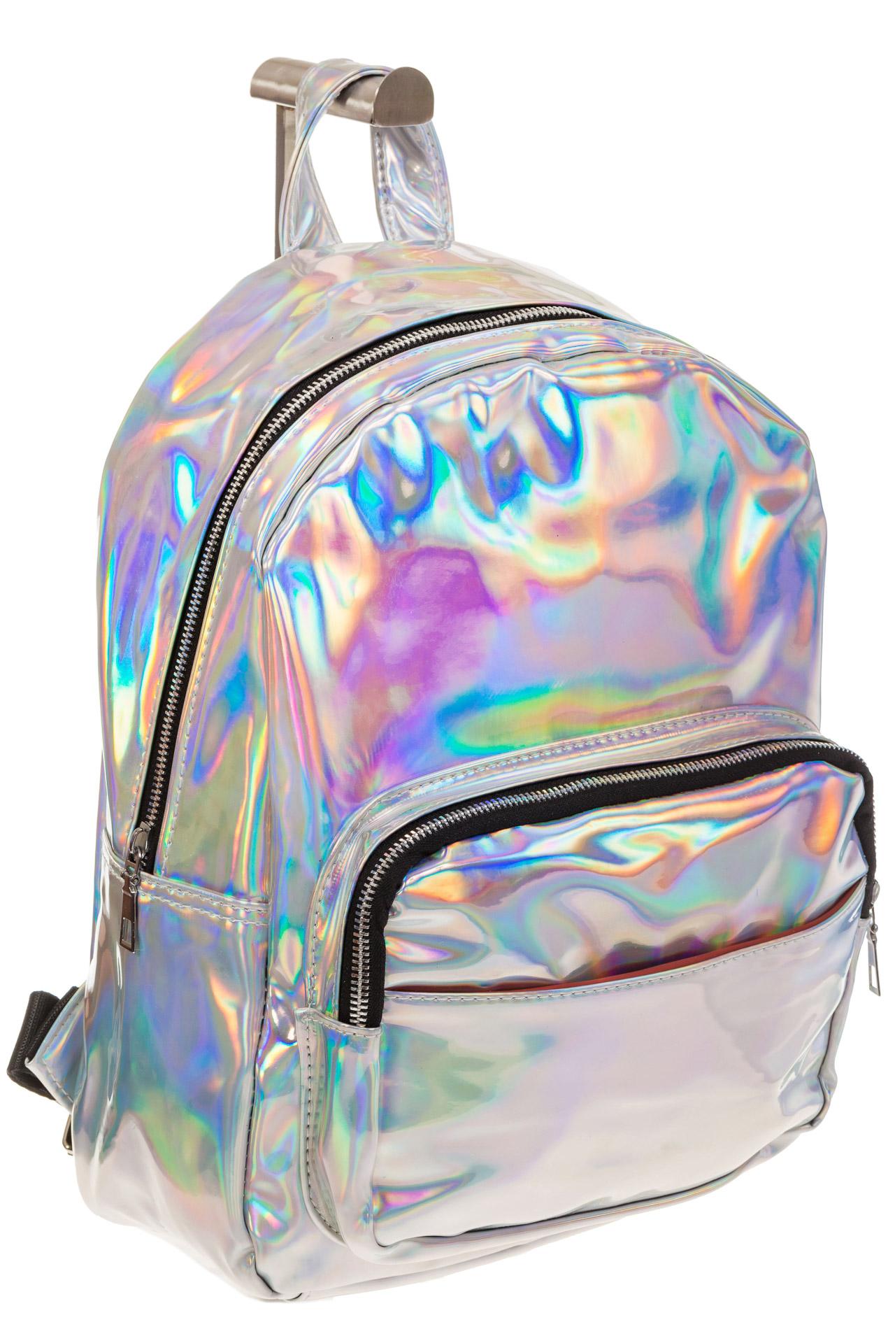 На фото 1 - Рюкзак с зеркальным покрытием из искусственной кожи