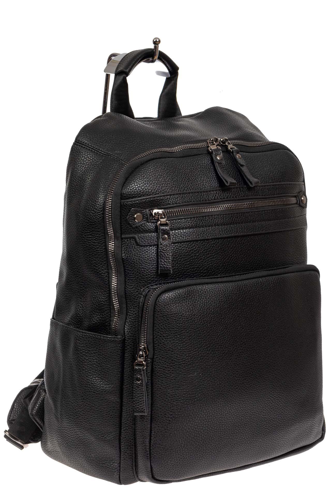 Рюкзак мужской из фактурной искусственной кожи, цвет чёрный
