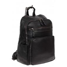 На фото 1 - Рюкзак мужской из фактурной искусственной кожи, цвет чёрный