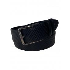 На фото 1 - Мужской кожаный ремень с фактурным узором, от 115 до 130 см, цвет чёрный