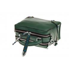 На фото 3 - Сумка коробочка из натуральной кожи, цвет зеленый