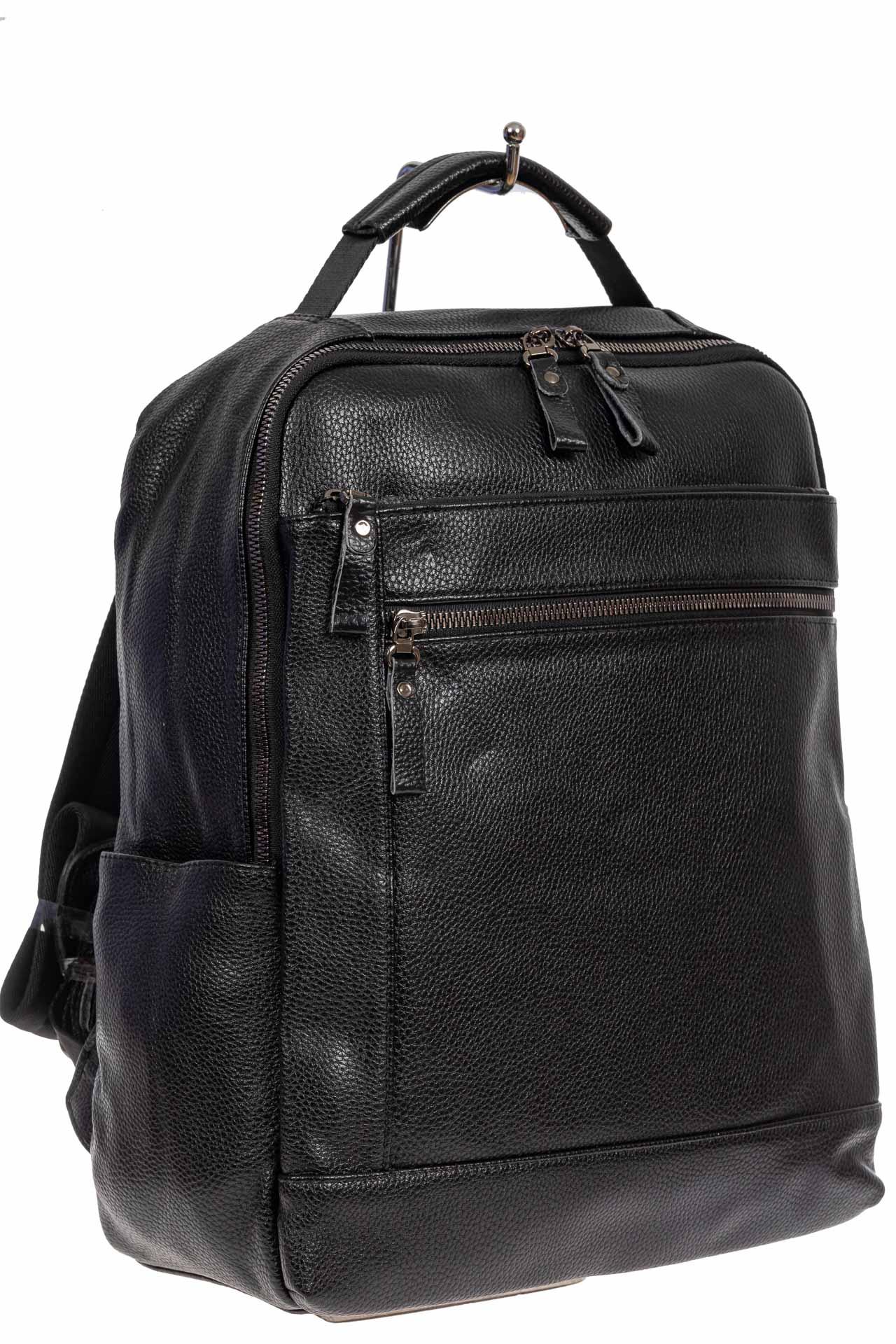 Мужской городской рюкзак из экокожи, цвет чёрный