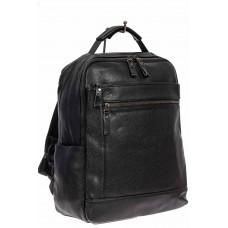 На фото 1 - Мужской городской рюкзак из экокожи, цвет чёрный