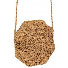 На фото 1 - Фигурная круглая сумка из соломки, цвет крафт