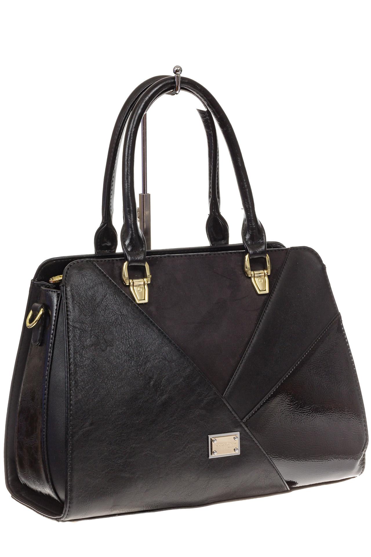 На фото 1 - Классическая сумка из искусственной кожи, цвет черный