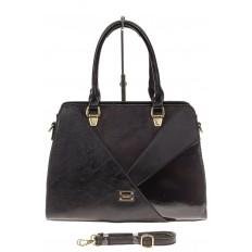 На фото 2 - Классическая сумка из искусственной кожи, цвет черный