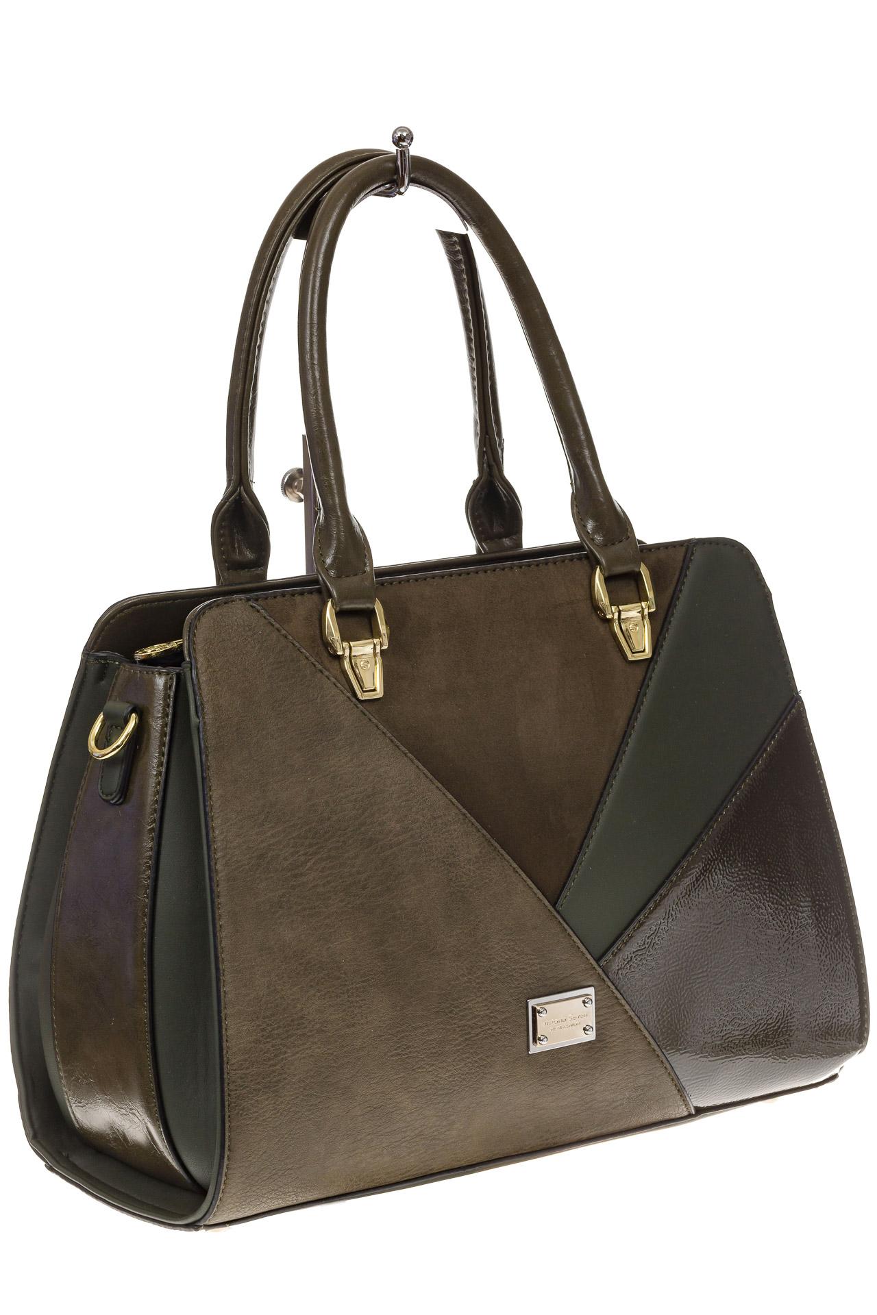 На фото 1 - Классическая сумка из искусственной кожи, цвет зеленый