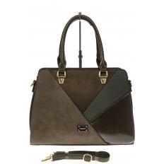 На фото 2 - Классическая сумка из искусственной кожи, цвет зеленый