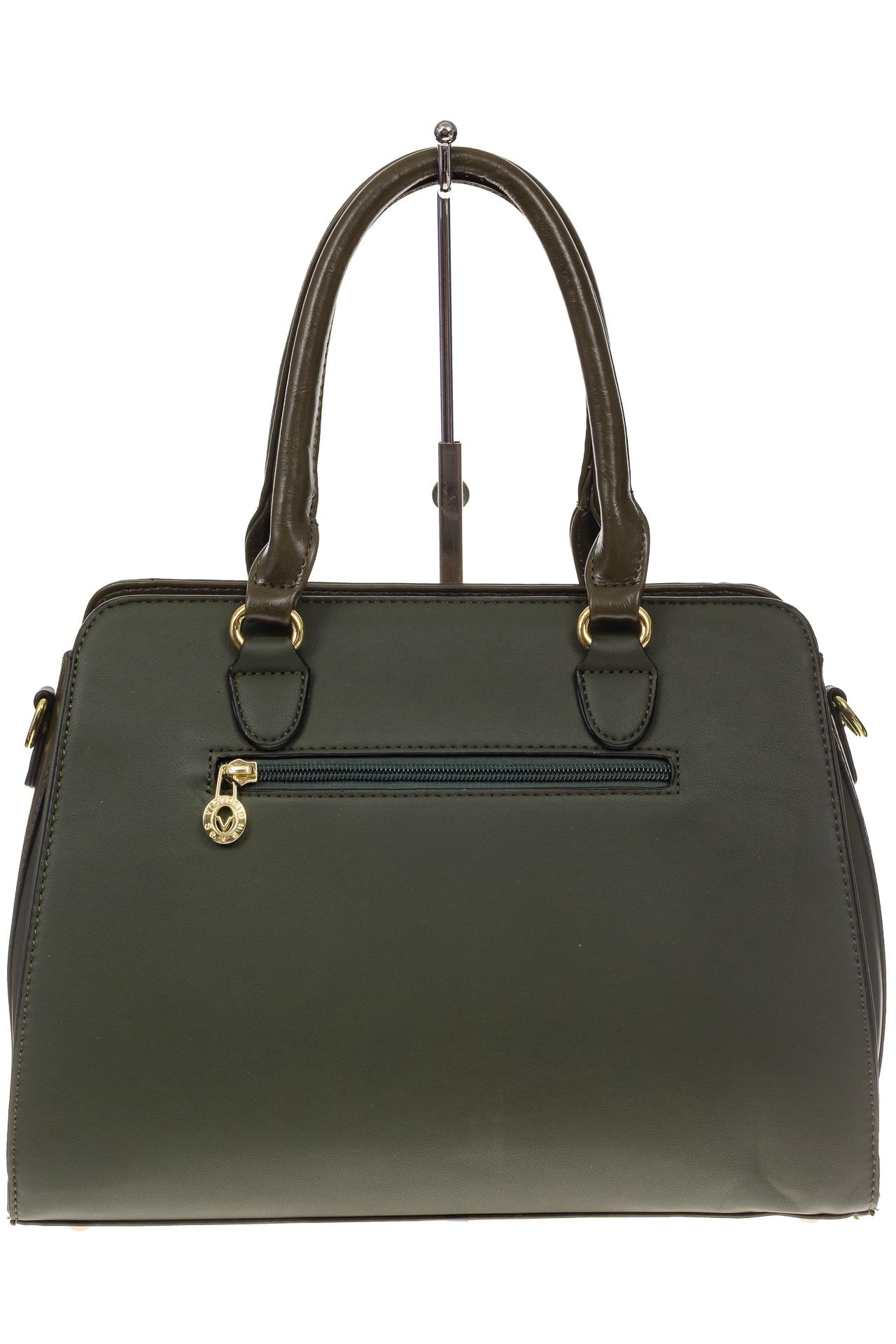 На фото 3 - Классическая сумка из искусственной кожи, цвет зеленый