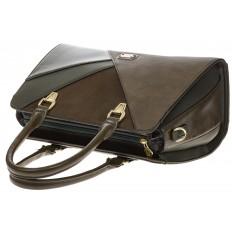 На фото 4 - Классическая сумка из искусственной кожи, цвет зеленый
