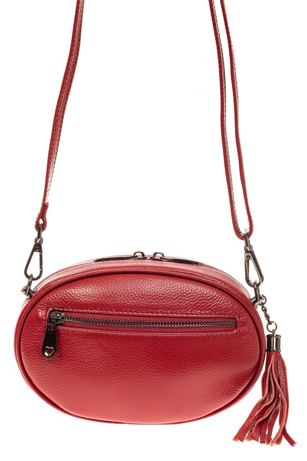 На фото 2 - Круглая сумка-малышка из натуральной кожи, цвет красный