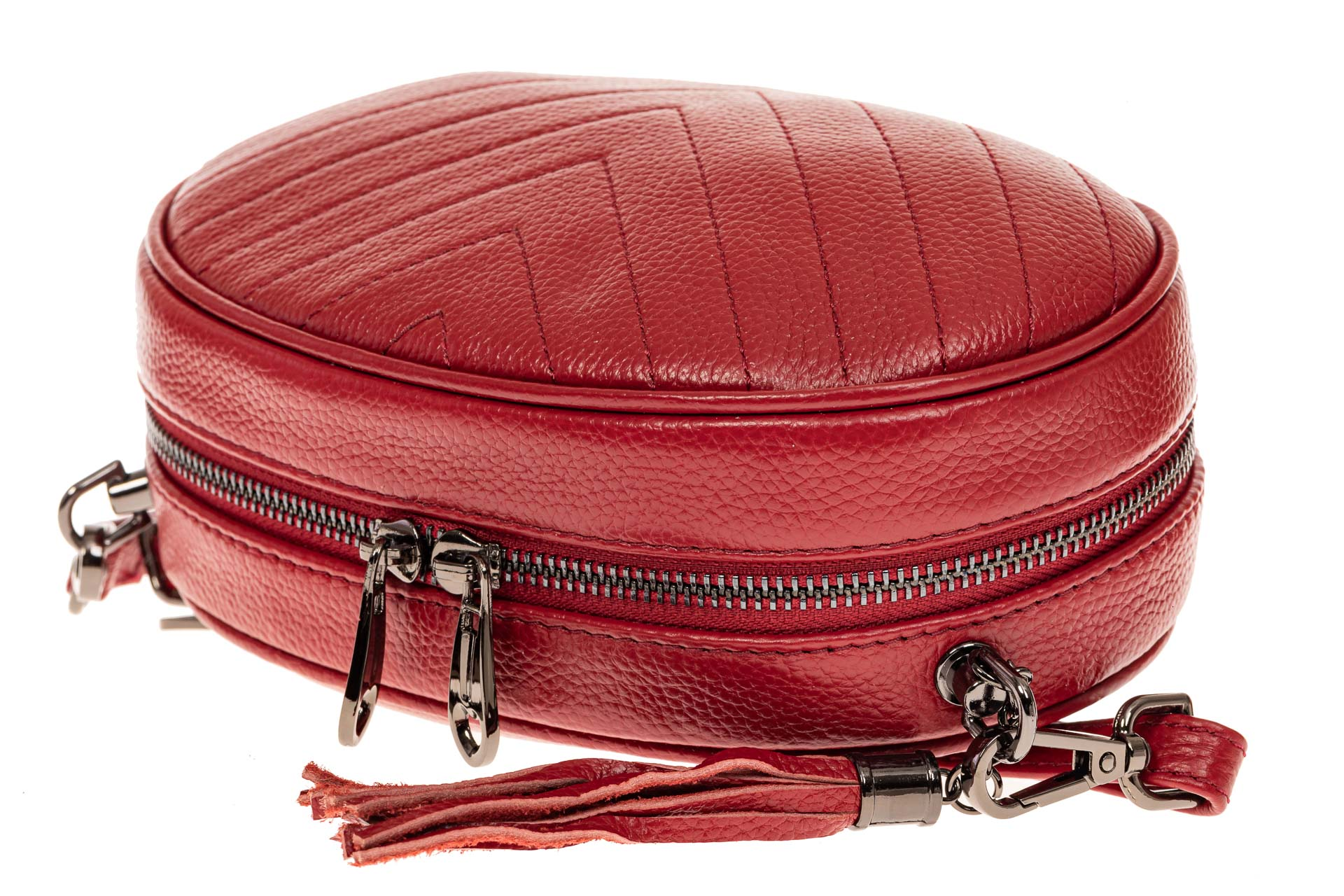 На фото 3 - Круглая сумка-малышка из натуральной кожи, цвет красный
