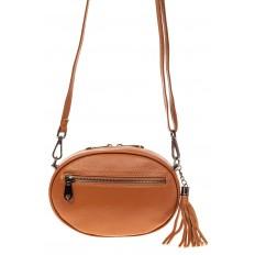 На фото 2 - Круглая сумка-малышка из натуральной кожи, цвет рыжий