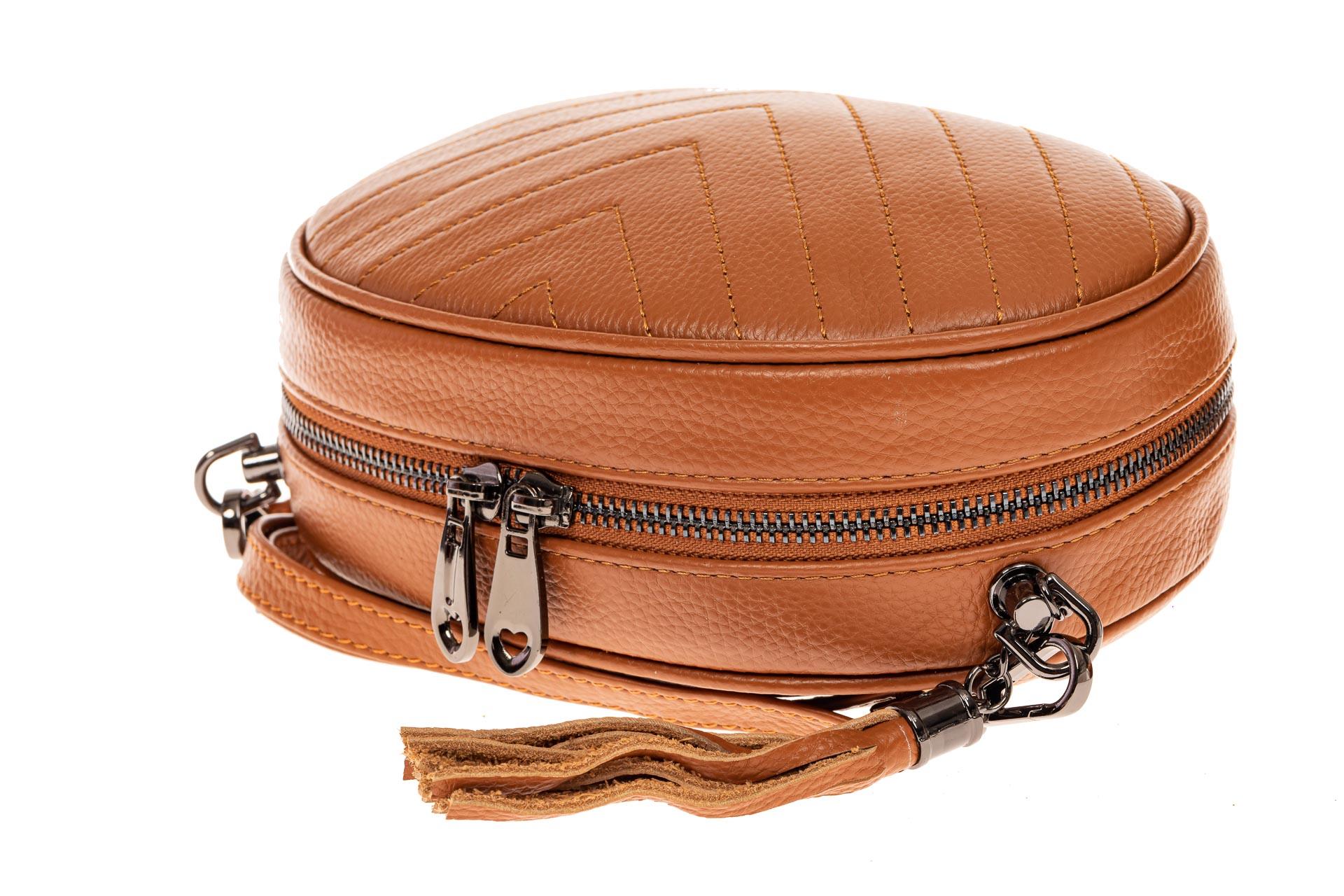 На фото 3 - Круглая сумка-малышка из натуральной кожи, цвет рыжий
