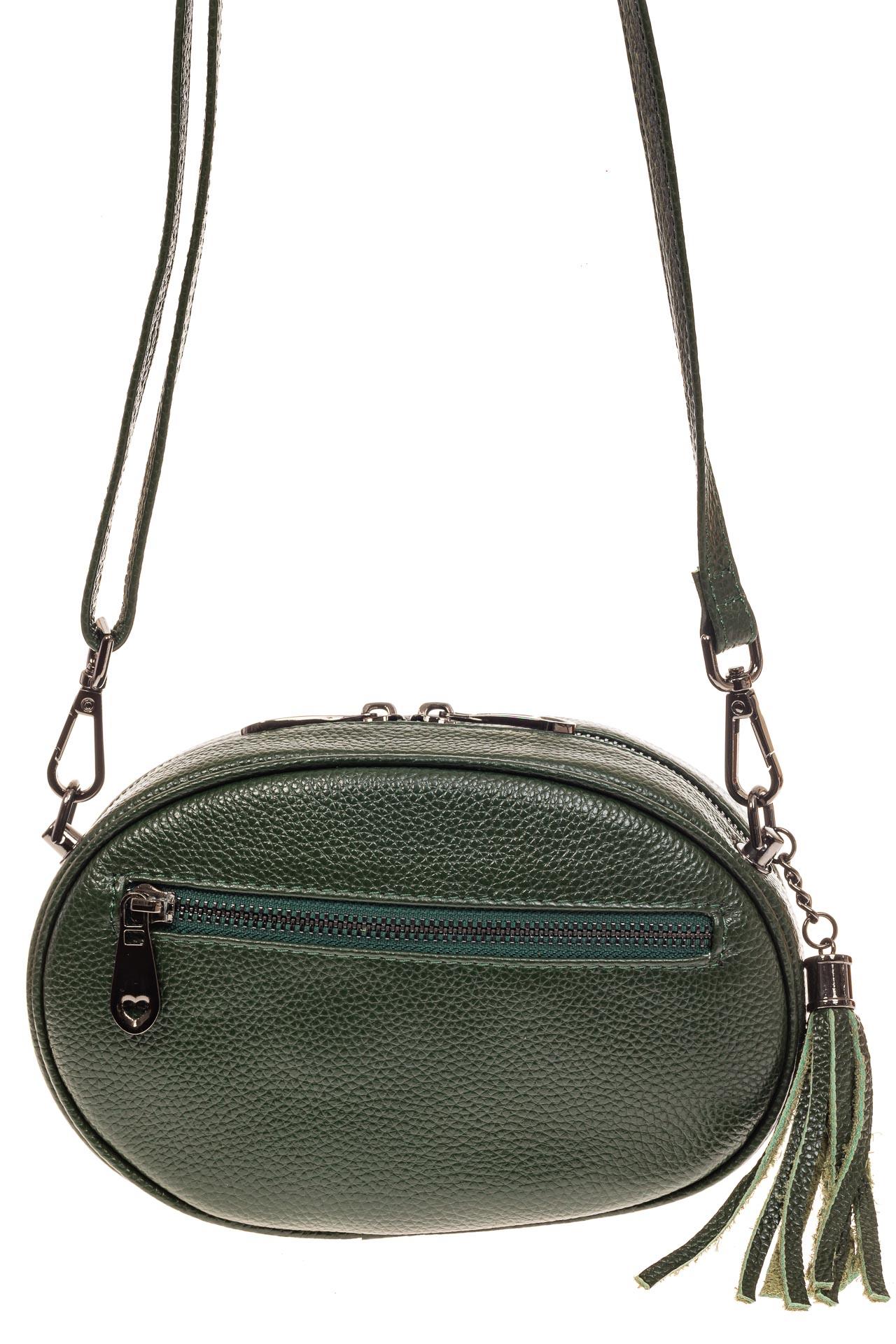 На фото 2 - Круглая сумка-малышка из натуральной кожи, цвет зеленый