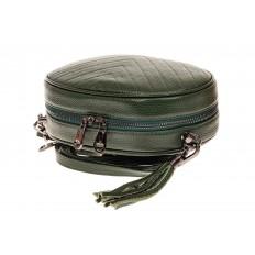 На фото 3 - Круглая сумка-малышка из натуральной кожи, цвет зеленый