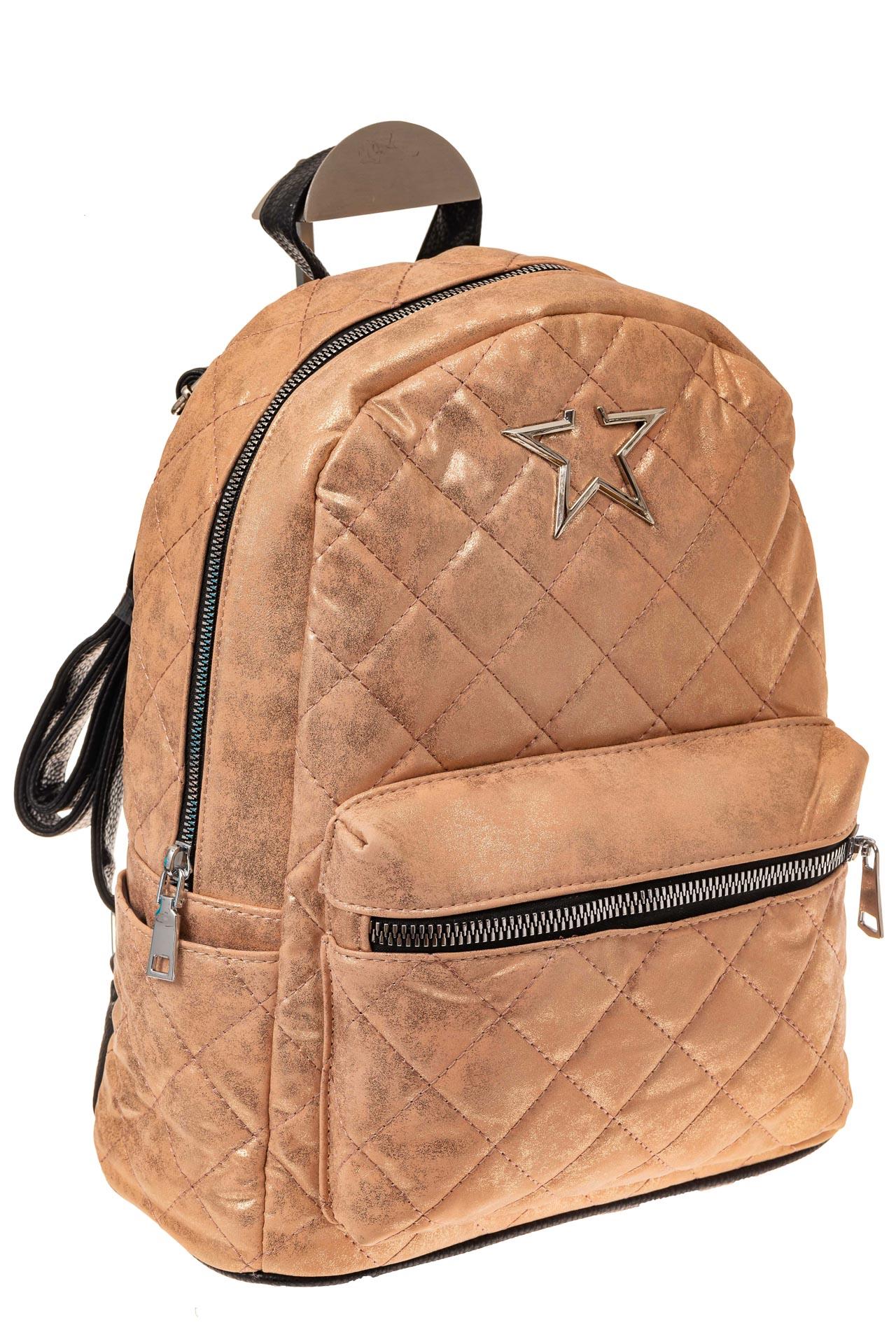 На фото 1 - Молодежный текстильный рюкзак, цвет бежевый хамелеон