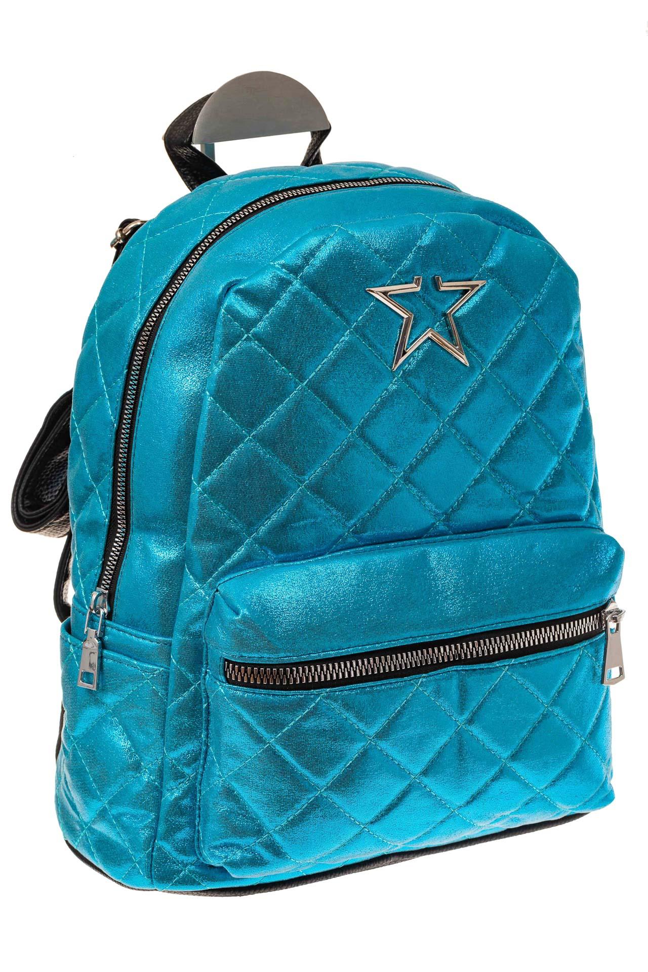 На фото 1 - Молодежный текстильный рюкзак, цвет голубой хамелеон