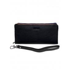 На фото 1 - Женский кошелёк-клатч из мягкой натуральной кожи, цвет чёрный