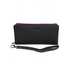На фото 1 - Женский кошелёк-клатч из мягкой натуральной кожи, цвет графитовый