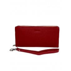На фото 1 - Женский кошелёк-клатч из мягкой натуральной кожи, цвет красный