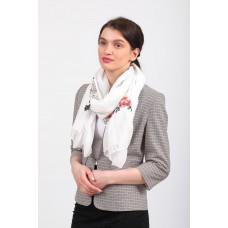 На фото 1 - Легкий палантин с вышивкой из хлопка и линона, цвет белый