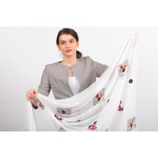 На фото 2 - Легкий палантин с вышивкой из хлопка и линона, цвет белый