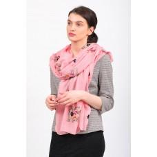 На фото 1 - Качественный летний палантин-шарф с вышивкой, розовый
