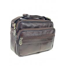 На фото 1 - Мужская плечевая сумка для документов из натуральной кожи, цвет коричневый