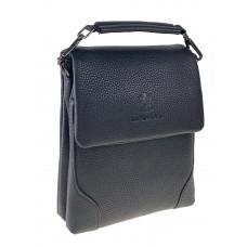 На фото 1 - Небольшая сумка-планшет для мужчин из фактурной натуральной кожи, чёрный цвет